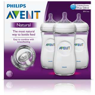 BN Philips Avent BPA Free Natural Polypropylene Milk Bottle Clear 11oz 330ml - 3 bottles