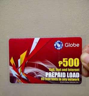 500 globe load card