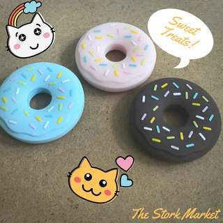 Baby Teether and Pacifier clip (Donuts)