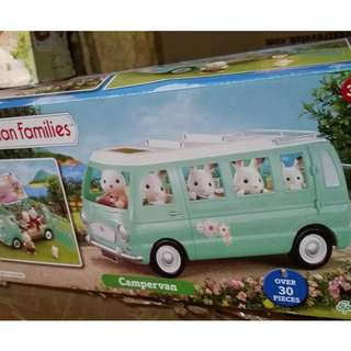 SYLVANIAN FAMILIES Vintage TEAL CAMPERVAN with Accessories IN BOX