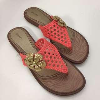 Grendha 巴西尺寸36(編織風花漾 夾腳平底拖鞋-橘色)