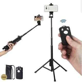 NEW 2-in-1 Black Tripod & Selfie Stick w/ Bluetooth Remote Shutter