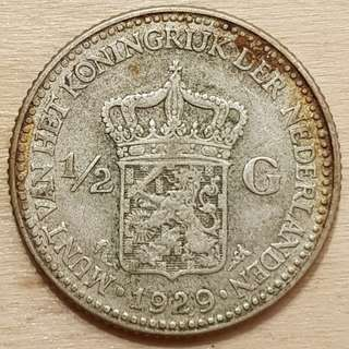 1929 Netherlands Queen Wilhelmina Half Gulden Silver Coin