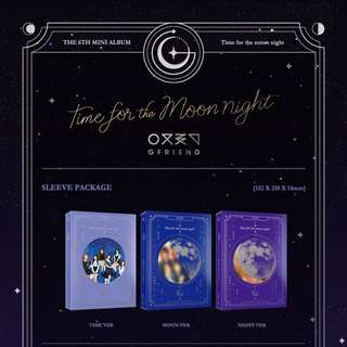 Gfriend 6th Mini Album Time For The Moon Night (Time / Moon / Night Ver.) + Photobook + Photocard + Bookmark / Coaster + Poster + Polaroid