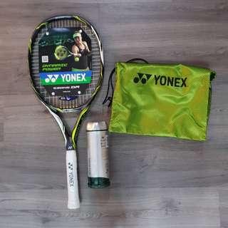 Yonex Tennis Racket and balls as shown.