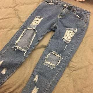 網拍牛仔破洞牛仔褲破褲
