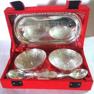 Set of  two artistic  bowls n Spoon silver coated