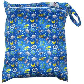 Multipurpose Large Single Zip with snap button Wetbag ~ Alien