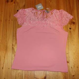Brand New Pink Top With Lace Detail