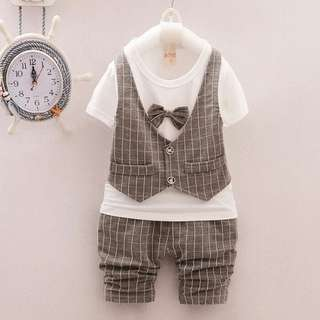 Grey grid bow vest set