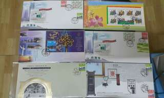 Hong Kong Post stamp 香港郵政郵票套摺 尚德邨郵局新加坡聯合旅遊業共慶新紀元中國郵展1999 共六個
