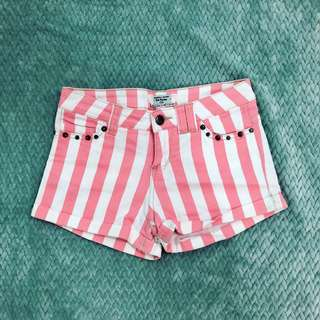 Striped shorts with studs