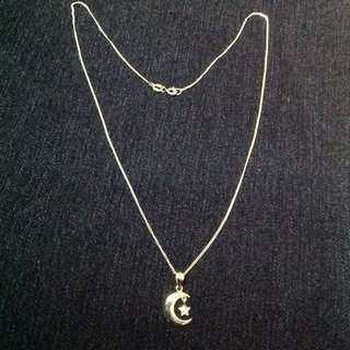 Genuine 925 Italy Silver Moon Star w/ Stones Necklace