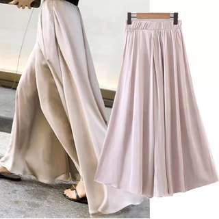 Women's Wide Leg Pants Women's High-Waist Satin Chiffon Pants Vacation Pants Wide Leg Skirts