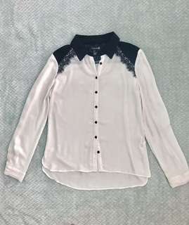 Buttondown polo with lace details