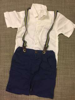Shirt+Shorts+Suspenders Set
