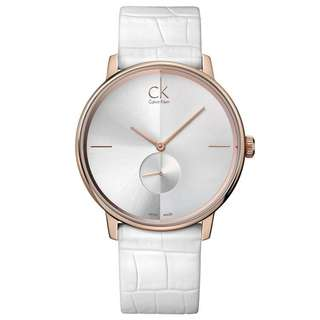 ACCENT ROSE GOLD TONE WHITE LEATHER UNISEX WATCH K2Y216K6