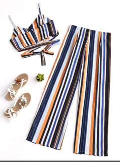 Stripes top and pants set
