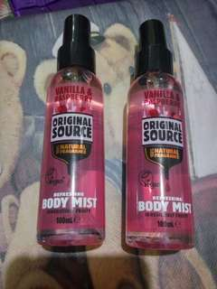 2pcs ORIGINAL SOURCE VANILLA & RASBERRY BODY MIST