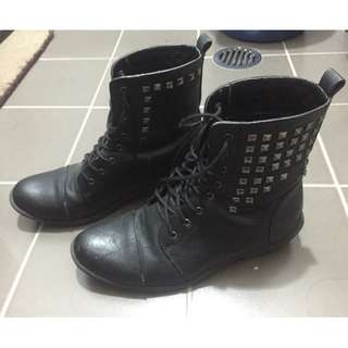 Black Real Leather Boots