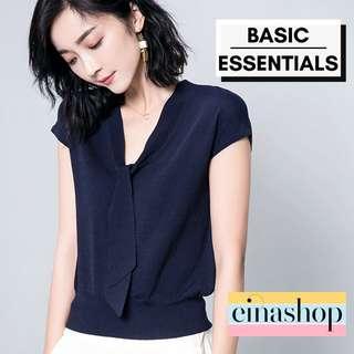 Basic Essentials Women's Office Blouse Top V neck Sleeveless Fashion