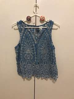 H&M Blue Embroidered Top