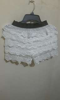 Lace shorts beach cover up