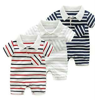 Baby Romper Casual Onesie w/ Collar Stripes Summer Cloth