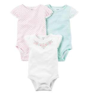 *3M & 24M* Brand New Carter's 3-Pack Flutter Sleeve Bodysuits For Baby Girl