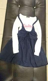 Rerek長袖T連身假兩件式女童洋裝140公分(尺寸cm肩31胸寬35衣長67袖長49.5)