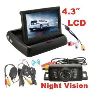 Car Van Rear / Reverse View Camera, Retractable LCD and Wireless Video Transmission - Complete Set with Wirings