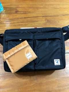 🚚 PORTER 經典黑色側背包+橘色短夾