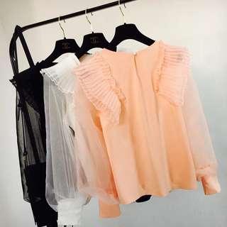 Blouse 2018春夏装新款韩版气质欧根纱灯笼袖荷叶边百褶长袖雪纺衫上衣女
