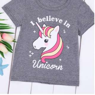 Cute Baby Girls Summer T-shirts Tops Kids Short Sleeve Tees Cotton Blouse Shirts