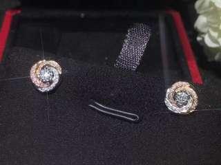 8心8箭18K金鑽石耳環1對