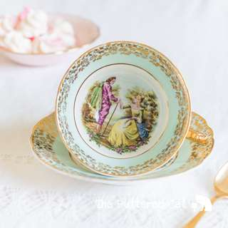 Vintage Leonard St Pottery English bone china cabinet cup and saucer, stunning, hard to find