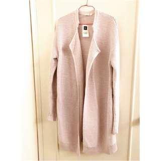 GAP 玫瑰粉針織長外套 翻領大衣 長版 粗針織 風衣 毛衣 混色 罩衫 開衫 寬鬆