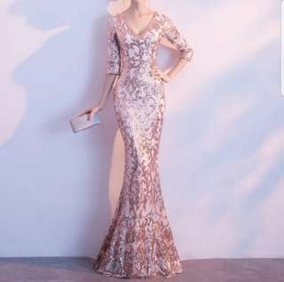 Pink champagne shiny dress / evening gown