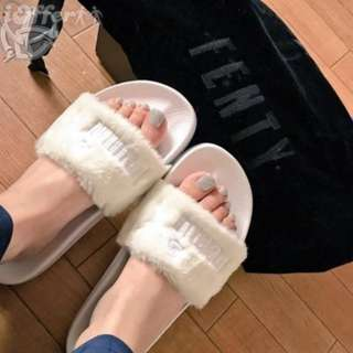 67329266d404 Puma Fenty by Rihanna  Leadcat Fenty  Faux Fur Slide White