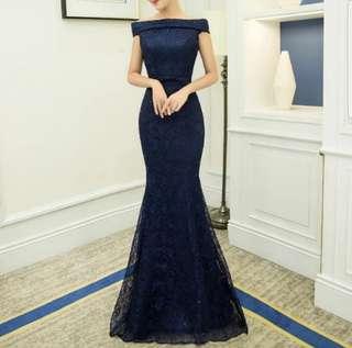 Off shoulder navy blue dress / evening gown