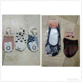 全新 三雙短船襪+兩雙蕾絲隱形襪 (F)