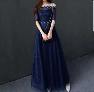 Off shoulder diamond neck dress / evening gown
