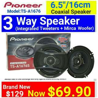 "Pioneer Car speaker - 3 Way 320watts  Coaxial Speaker with Mica Multilayer Cone. 6.5""/16cm size. model TS-A1676. UP: $129 Special Offer: $69.90. Whatspp 85992490 to collect today."