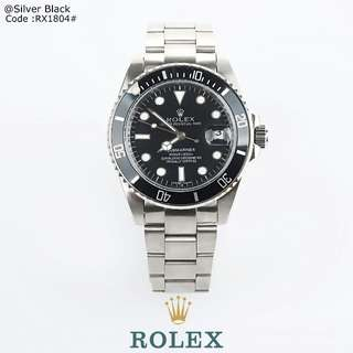 New ROLEX Automatic Submariner 1804#p  Diameter : 38mm Quality : PREMIUM Material all Stainless Steel Available 3 colours : - Gold Black - Gold Gold - Silver Black Automatically changing date function Free Box Weight : 0,3 kg   H 460rb