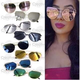 FREE CASE & WIPER | Double Bridge Cat Eye Mirror Tinted Sunnies Sunglasses Shades Eyewear