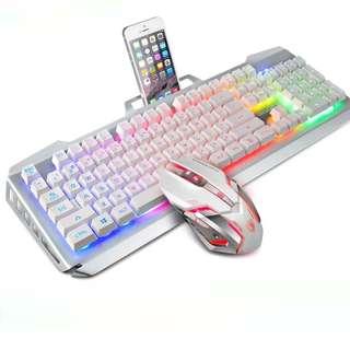 (Free XL Mousepad) SADES Blademail v2 White Gaming Keyboard + Mouse