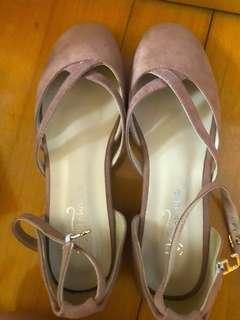 粉色 高踭鞋  平底鞋 斯文款 少女