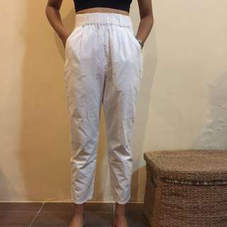White Highwaist Linen Trousers