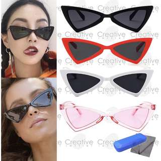 FREE CASE & WIPER | Triangle Cat Eye Retro Summer Sunnies Sunglasses Shades Eyewear