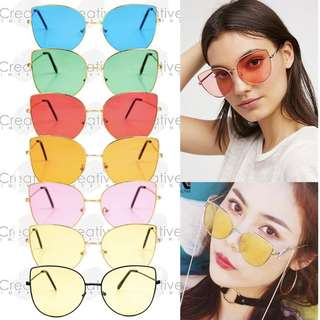 FREE CASE & WIPER | Butterfly Wings Cat Eye Mirror Tinted Sunnies Sunglasses Shades Eyewear